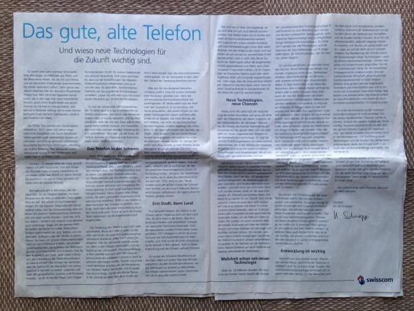 Swisscom CEO lobbies for expansion of antennas for 5G technology with a 2-page ad in every major Sunday newspaper in Switzerland, Zweiseitige Anzeigen in der Sonntagspresse: Swisscom-Chef Urs Schaeppi lobbyiert für den Antennen-Ausbau fürs neue 5G-Handynetz.