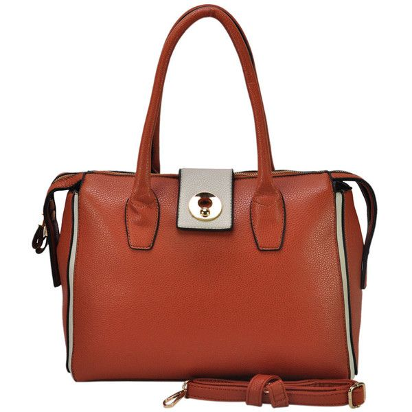 VK Women's Bag With Metal Buckle And Long Zipper - Brown
