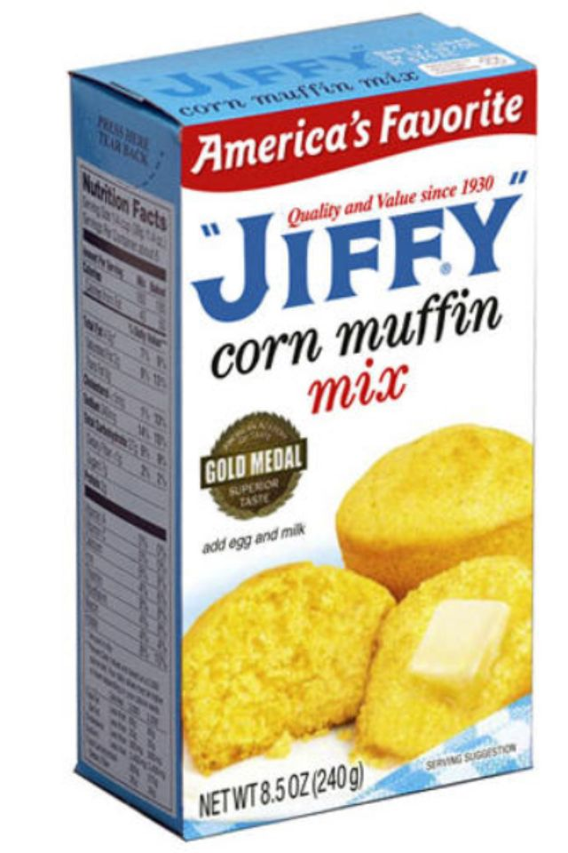JIFFY CORN DOGS made easy  *Mix up jiffy cb mix as usual  *add garlic & onion powder (to taste) 1-2tsp  *slide hot dogs on water soaked kabob sticks (soak stix abt 30m so the wood won't burn when cooking)  *roll/dust hot dog lightly in flour, LIGHTLY (this steps soaks up moisture on hot dogs so cb mix adheres very well.  Important step  *dip dogs in pot filled veg oil or deep fryer until golden brwn 3-5 min med hi heat, submerging hotdog only not ends of sticks  Walahhh THE BEST corn dogs…