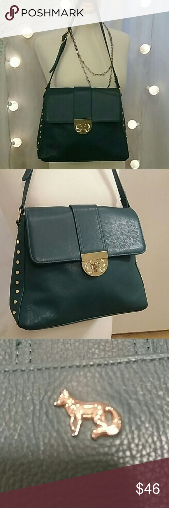 Emma Fox Green Leather Purse Excellent Condition. Looks unused. Dark green color with beautiful floral lining. Emma Fox Bags Shoulder Bags