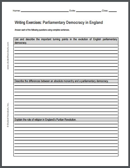 Writing Exercises on the Growth of English Parliamentary Democracy - Free to print (PDF file).