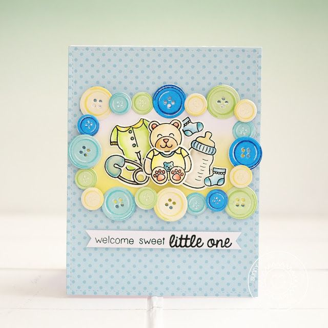 Sunny Studio Stamps: Cute As A Button Baby Boy Themed Card by Lexa Levana
