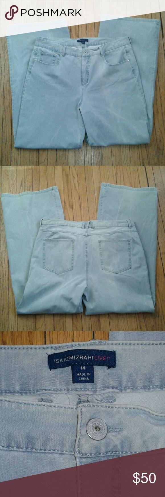 Isaac Mizrahi acid washed jeans Acid washed light blue jeans from isaac Mizrahi live. Like new! Waist 36. Rise 11.5. Inseam 31.5 Isaac Mizrahi Jeans Flare & Wide Leg