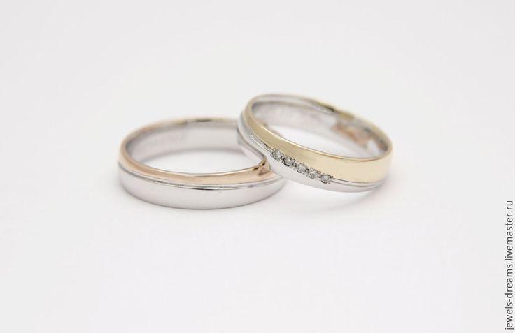 """Купить Обручальное кольцо из двух цветов золота """"Шелковистое"""" - золотой, обручальные кольца, кольца из золота"""