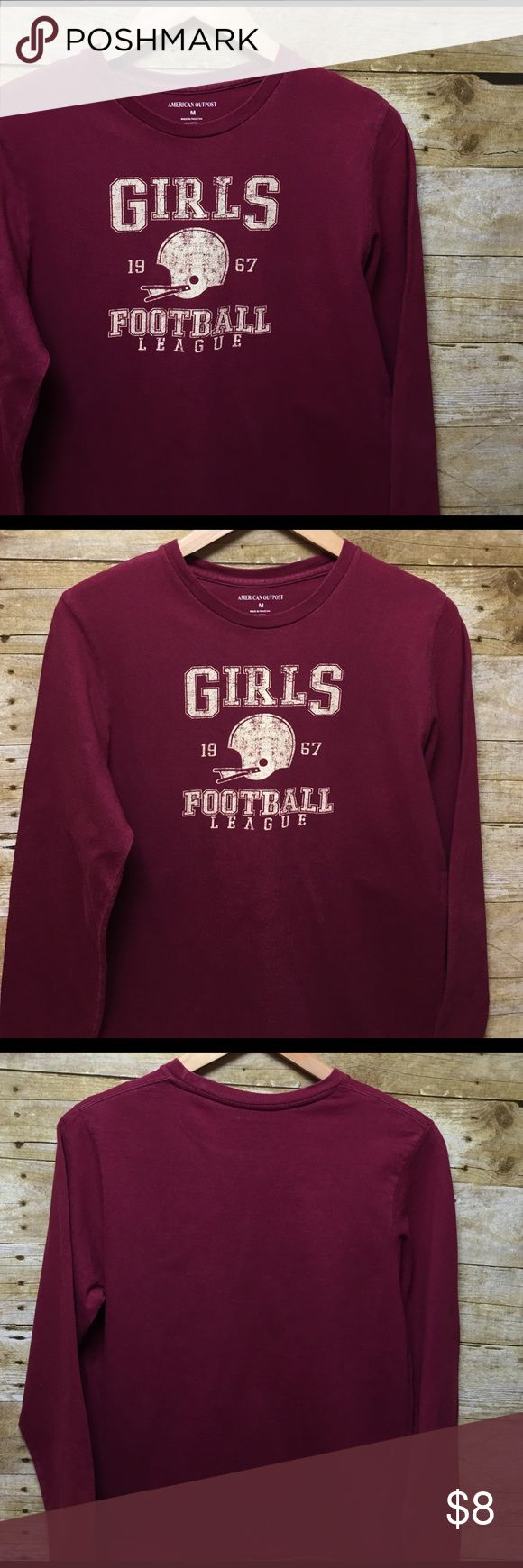 long sleeve tee - American Outpost long sleeve tee - American Outpost size medium has girls football league silkscreen on front American Outpost Tops