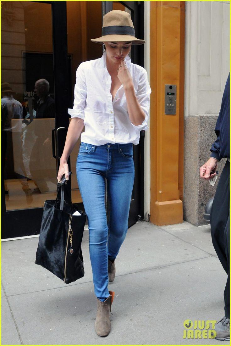 Miranda Kerr Wearing Bright Blue Jeans