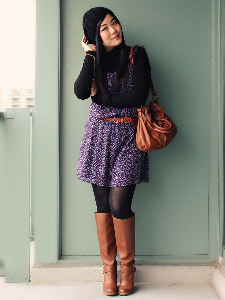purple skirt and brown boots!