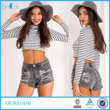 Black And White Striped Printed T Shirt Long Sleeve Boat Neckline Crop Top Best Seller follow this link http://shopingayo.space