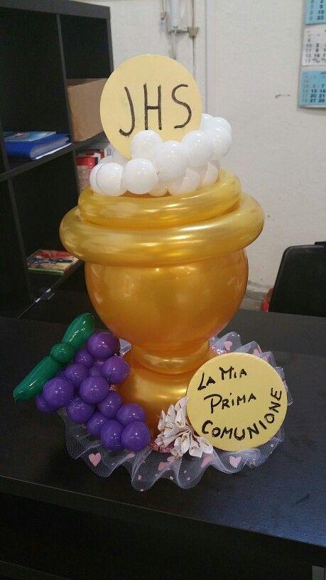 Centrotavola palloncini Comunione,Communion Balloons Centerpiece