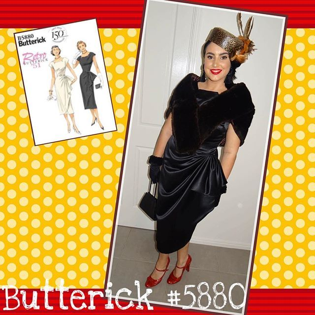 Miss Rachael's latest project, a Retro Butterick pattern B5880 from 1951. Rachael was inspired to make this design to wear in fashions on the field at the races. She chose a black delustered satin, and accessorised with her aunts vintage faux fur stole, red vintage shoes, and enlisted a local milliner to create her a very gorgeous, and stylish animal print hat. We made two changes to the pattern; we added a centre back seam sew the dress could be zipped at the back rather than the side. The…