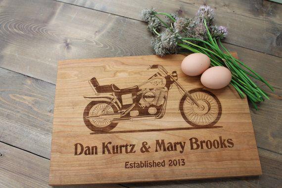 Harley Davidson último nombre laser grabado personalizado establecido Apellido corte Tablero tallado grabado boda o regalo de aniversario