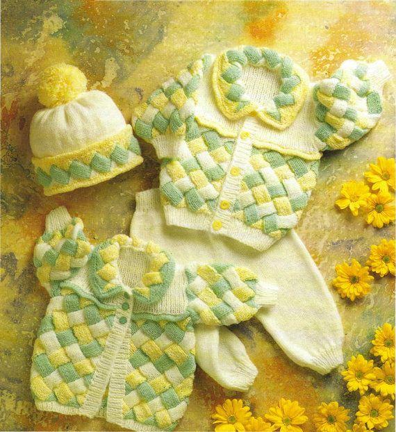 """Instant Download PDF Vintage Knitting Pattern to make Baby Toddler Super Entrelac Cardigan or Jacket,Coat Leggings & Hat Chest 16-22"""" in DK"""