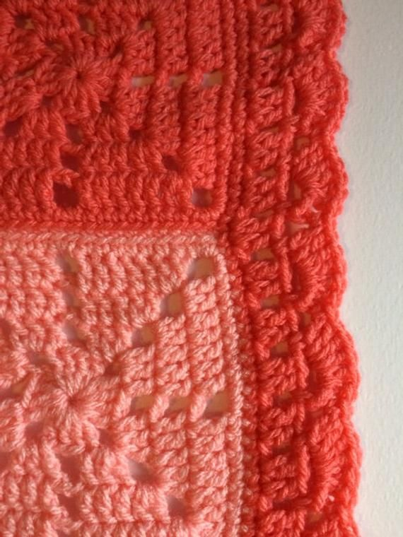 BABY SHOWER GIFT Hand Crochet Baby Blanket Shdes of Red and Pink