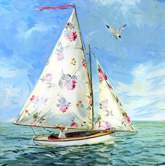 Claire FletcherPretty Sailboats, Favorite Things, Contemporary Artists, Art Inspiration, Claire Fletcher, Sailboats Drawing, Sailing Away, Sailboats Illustration, Sailing Boats