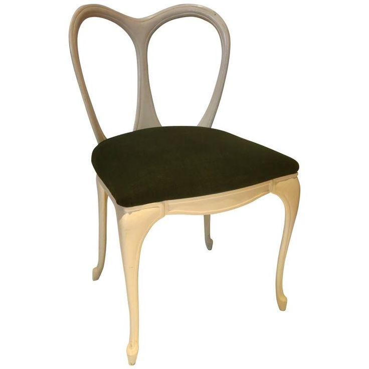 1950s Painted Cast Aluminium Boudoir Petite Art Nouveau Single Chair For Sale at 1stdibs