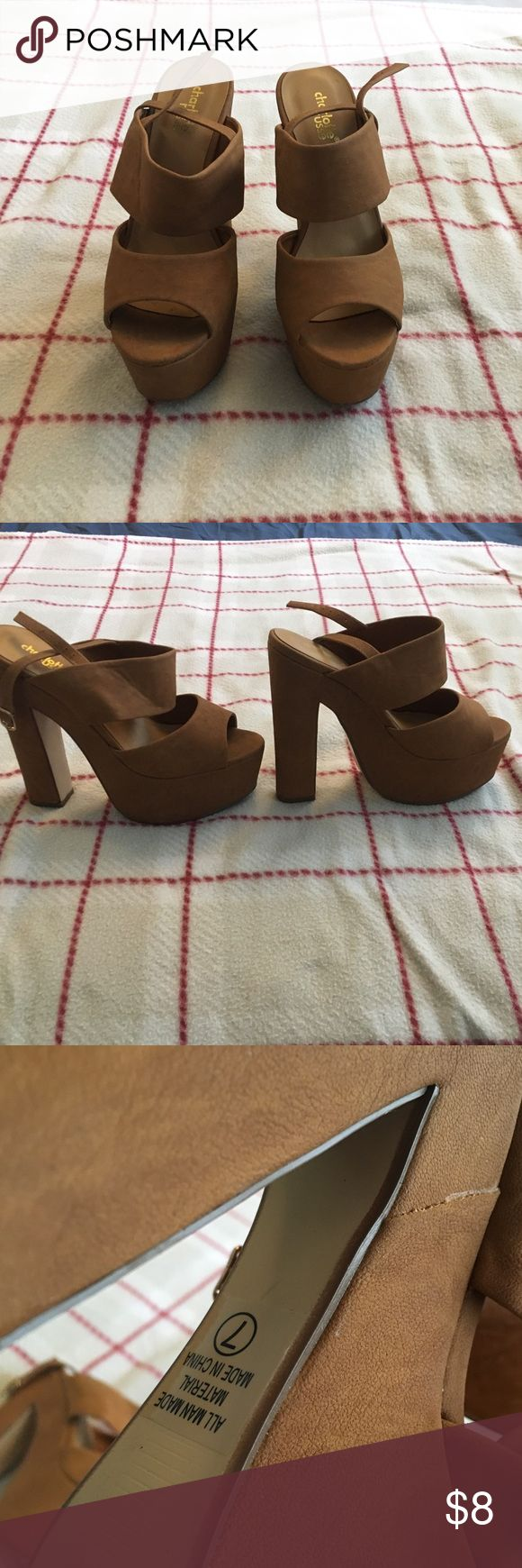 Tan high heels 6in double strap tan heels. Thicker heel plus platform and ankle strap, so they're pretty easy to walk in. Cute date night or brunch heels Charlotte Russe Shoes Heels