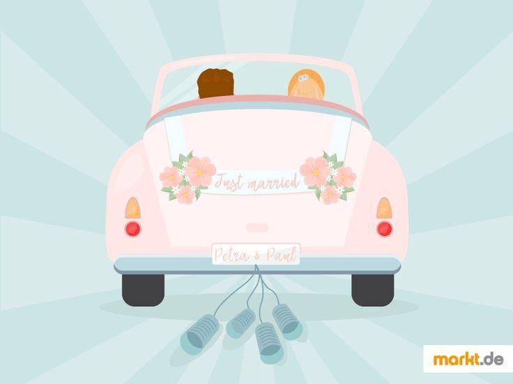 Autoschmuck für die Hochzeit | markt.de #hochzeit #heirat #wedding #auto #deko #hochzeitsdeko