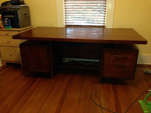 Solid Wood Mid Century Modern Desk, Style Of Jens Risom. Large And Very