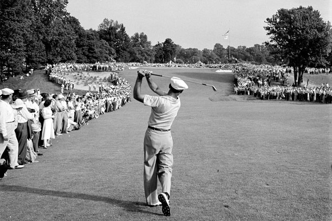 Hogan at Merion: 1 iron to the 72nd hole at the 1950 US Open. The most famous photograph in golf.