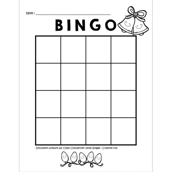 Bingo de Noël (16 cases) Plus