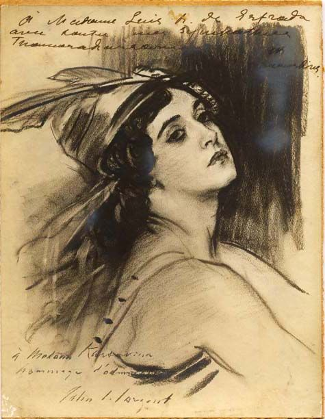 Dibujo dedicado a Victoria. Artista: John S. Sargent.