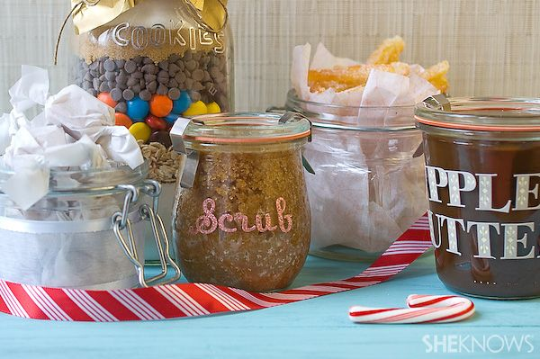 Homemade gifts in jars... body scrub, cookies, apple butter and salted caramels!