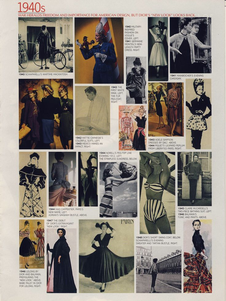 """What we wore"" 1940s. Scanned from a late 90s American Vogue."