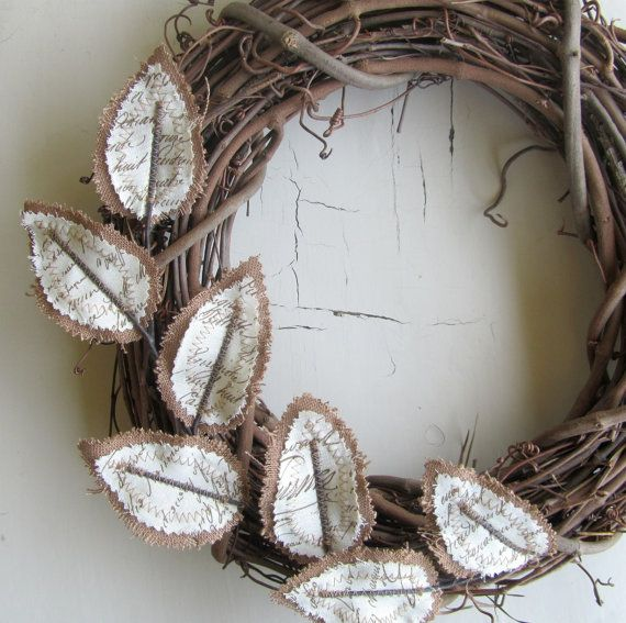 Fabric Leaf Wreath  Burlap Brown Linen Antique von janejoss auf Etsy, $15.00