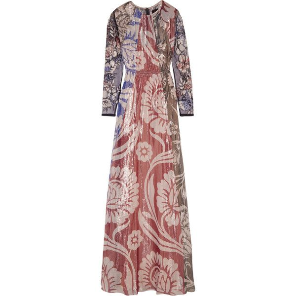 Biyan Izoia appliquéd silk-blend lamé maxi dress (3 944 AUD) ❤ liked on Polyvore featuring dresses, brick, floral slip dress, maxi slip dress, brown dress, colorful maxi dress and sequin embellished dress