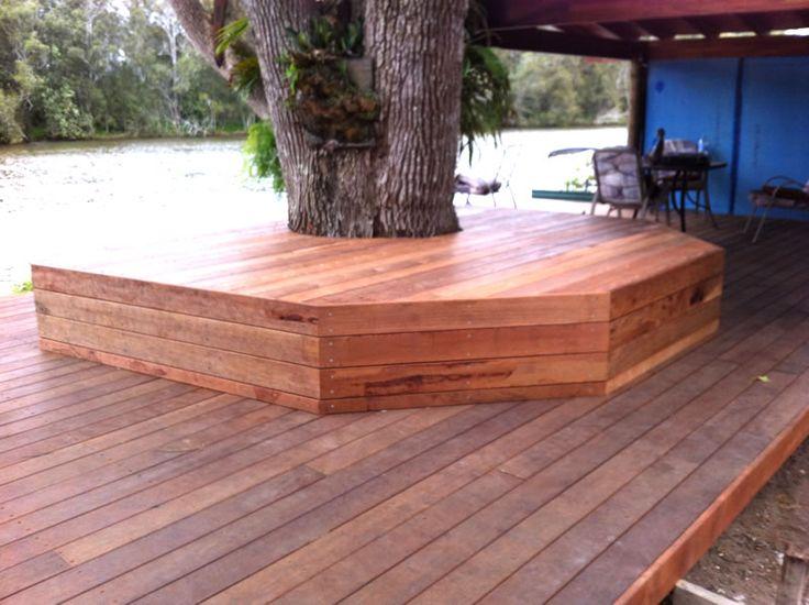 deck aroun tree | Merbau deck and seat around tree