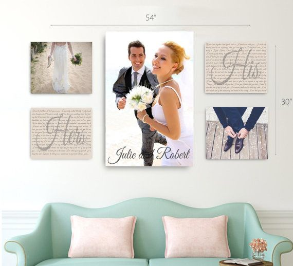 Wedding Vow Photo Canvas Display Set of 5 One by FUNtasticDesign