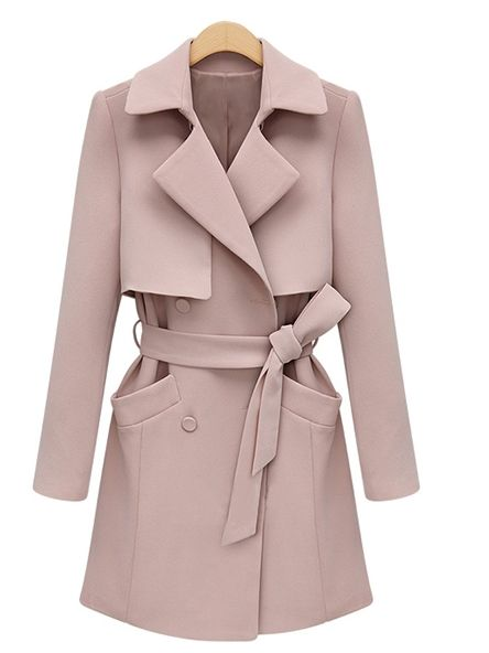 Ladylike  Lapel Long Sleeve   Trench-coat Trench Coats from stylishplus.com