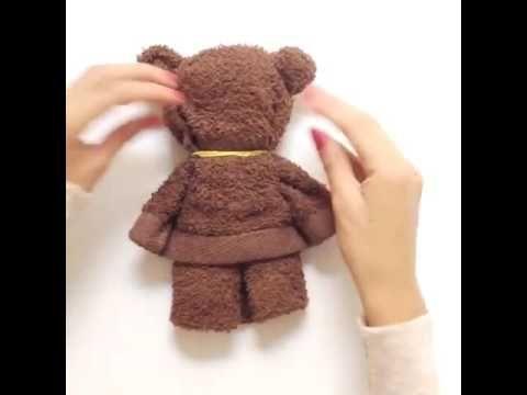 DIY Teddy Bear - How to make a cute bear from a towel - YouTube