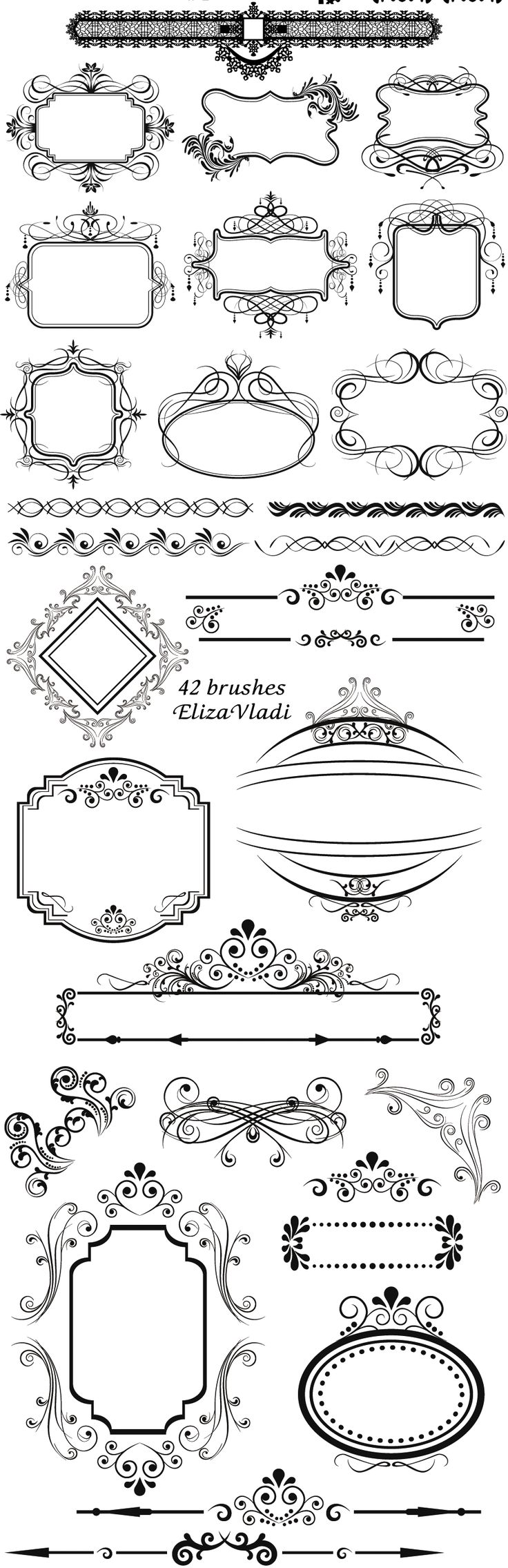 FREE Photoshop brushes: Vintage frames...UNFORTUNATELY LINKY NO LONGER WORKS but I still love the designs