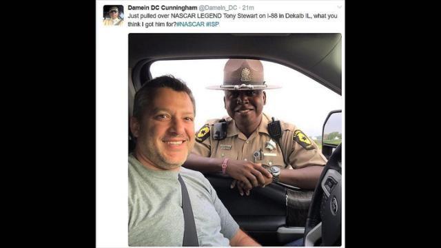 State trooper pulls over former NASCAR driver Tony Stewart on I-88, tweets photo
