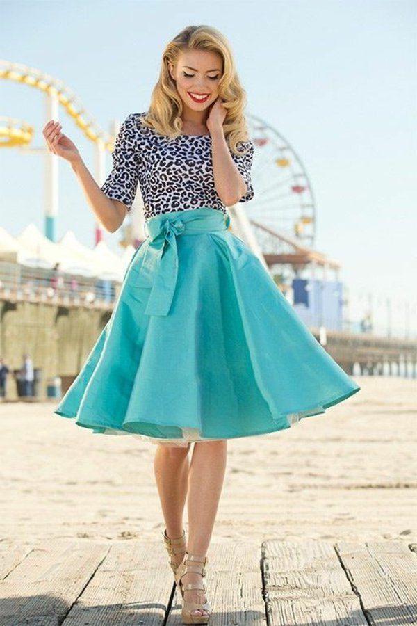 jupe évasée, jupe mi longue turquoise