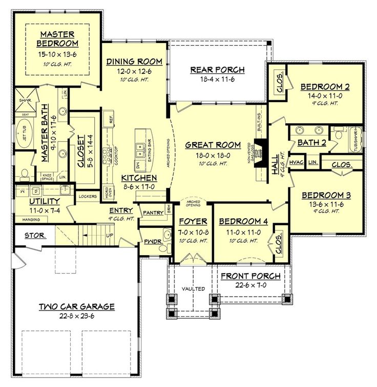This Is A Great Four Bedroom Country House Plan With Open