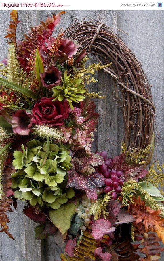Fall Wreath Tuscany Decor Elegant Floral by NewEnglandWreath, $135.20