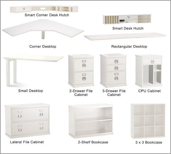 All the pieces to choose from bedford corner desk set pottery barn james house pinterest - Pottery barn office desk ...