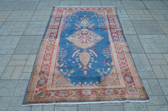 Blue Vintage rug. Handmade wool carpet. Turkish rug. Free shipping. 6.5 x 3.7 feet. (2.00 x 1.13 cm)