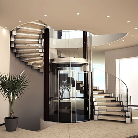 Best Internal Solid Wood Tread Curved Staircase Design 640 x 480