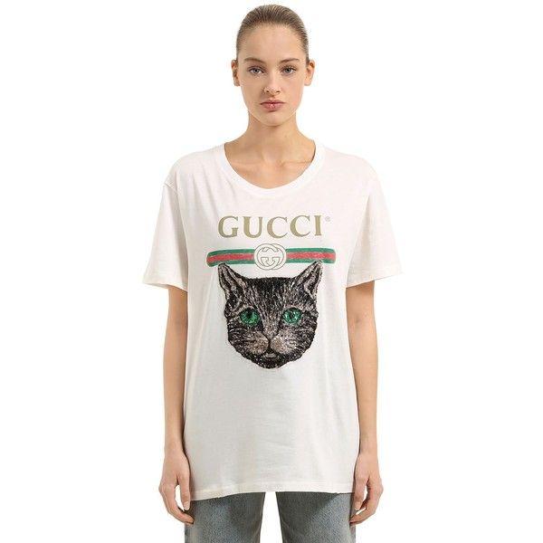 4c8e788e Gucci Women Sequined Cat & Logo Print Jersey T-shirt (1 045 AUD ...