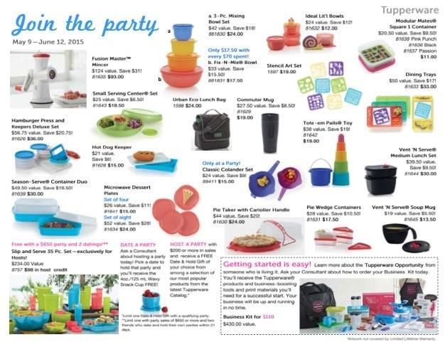 The current Tupperware sales flyer. You can easily view the current catalog and sales flyer online at www.jamesp.my.tupperware.ca