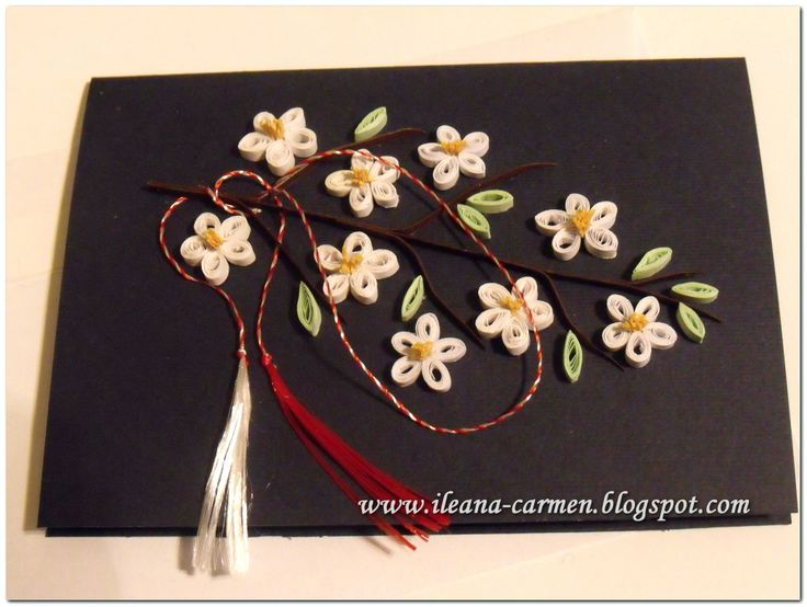 Quilling Card for Celebration of 1-st March in Romania with Blomming Flowers. Card dimensions: (14 x 10,5) cm.