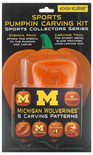 Michigan Wolverines Pumpkin Carving Kit by Topperscot. $5.05. Officially Licensed Designs. One Sports Pumpkin Carving Kit. Adult Supervision Required-  For Ages 5 and Up. Tool Set Consists of a Carving Saw, Scoop and Glue Stick. Kit Contains Six Team Specific Designs and Three Piece Tool Set. NCAA Michigan Wolverines Pumpkin Carving Kit