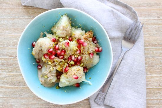 Spiced Cauliflower with Tahini, Pomegranate and Pistachios