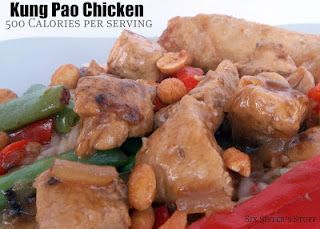 500 Calorie Kung Pao Chicken    Ingredients  2 Tablespoons of Dark Sesame Oil (Kirksville doesn't carry this so I used Extra Virgin olive oil)  1 cup chopped onion  2 garlic cloves, minced  1 pound boneless skinless chicken breasts  3/4 cup water  3 tablespoons low sodium soy sauce  2 teasoons cornstarch  1 teaspoon brown sugar  1/2 to 1 teaspoon red pepper flakes   1 cup snow peas, trimmed  2 tablespoons chopped unsalted, dry-roasted peanuts: Healthy Meals, Fun Recipes, Calories Kung, Low Calories, 500 Calories, Kung Pao Chicken, Healthy Recipes, Six Sisters Stuff, Chicken Breast