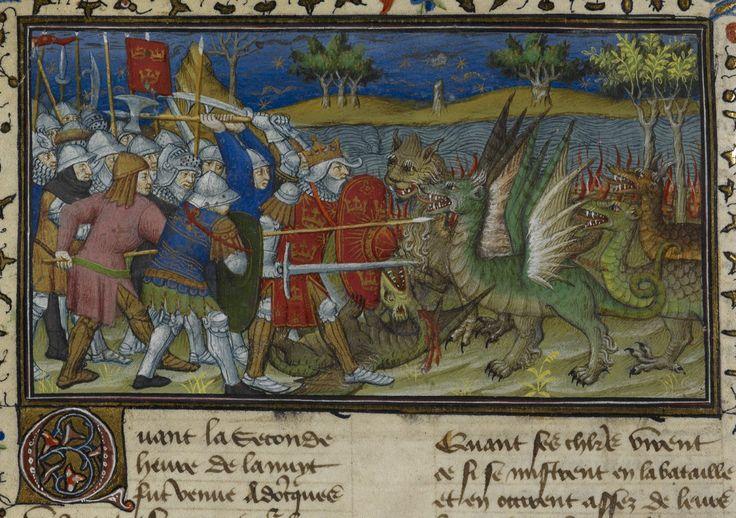 Battle with dragons   Historia de proelis in a French translation (Le Livre et le vraye hystoire du bon roy Alixandre)   France, Central (Paris)   c. 1420