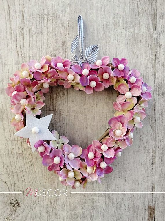 Christmas pink Heart  Front door wreath STAR. by MDECOR1979