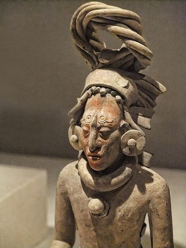 Closeup of a Figure of a Standing Warrior late Classic Maya Jaina style Campeche or Yucatan Mexico       650-800 CE Ceramic with pigment    Art Institute of Chicago